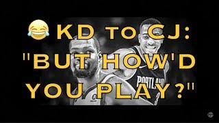 "KD (Kevin Durant) to CJ McCollum on his pod: ""But how'd you play? Like an 8th seed"" + MORE"