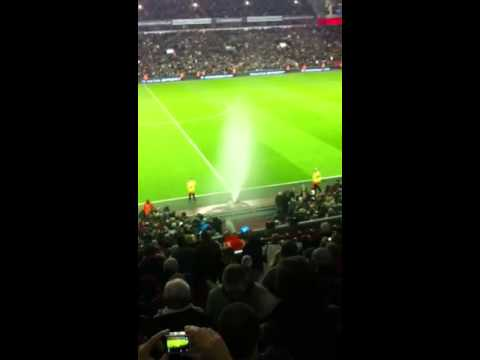 Fans sprayed with sprinkler at Anfield