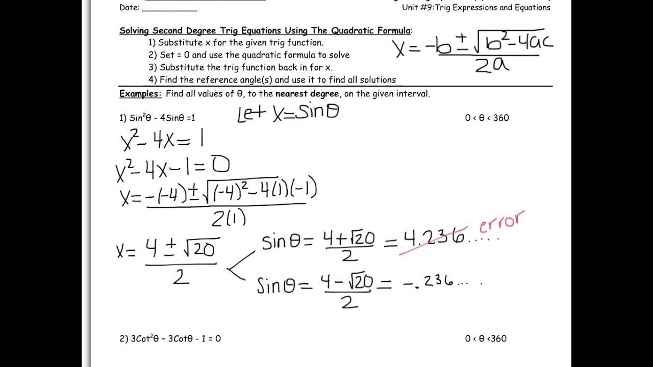 Trig Equation Solver Degrees