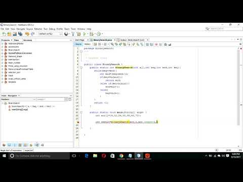 Implementing Binary Search algorithm using java