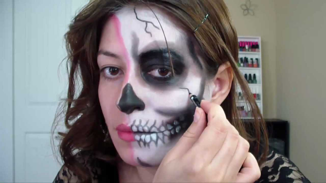 Worksheet. Maquillaje Mitad Calavera para halloween  YouTube