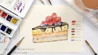 How to paint a piece of cake in watercolor - Jay Lee