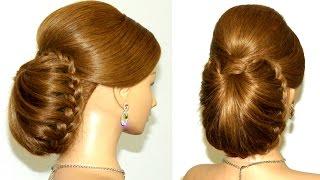 Прическа с плетением для длинных волос.
