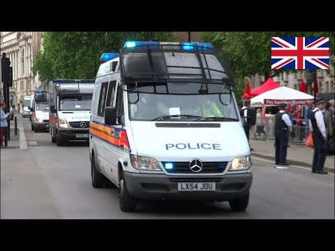 London Metropolitan Police Riot Vans x37 (TSG/DOG/PSU) responding urgently