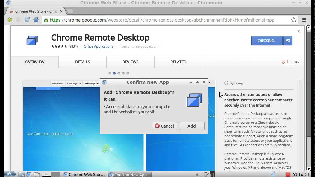 Share computer desktop with Chrome Remote Desktop