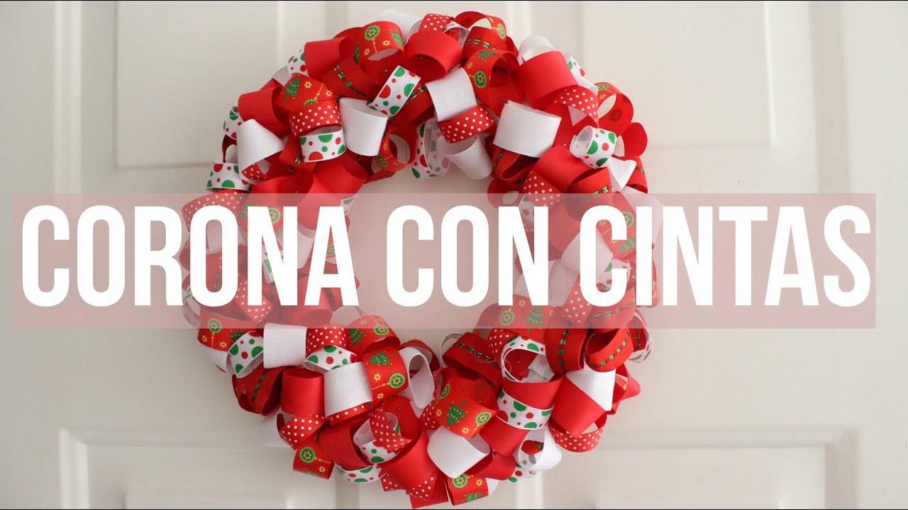 Especial de navidad c mo hacer una corona navide a con cintas kathy g mez youtube - Como hacer coronas navidenas ...