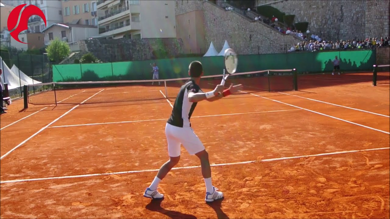 Novak Djokovic Training On Clay - Court Level View - ATP Tennis Practice