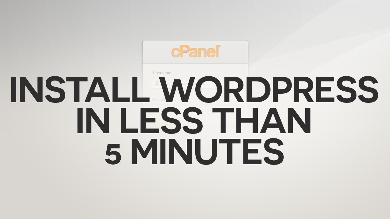 Install WordPress using cPanel