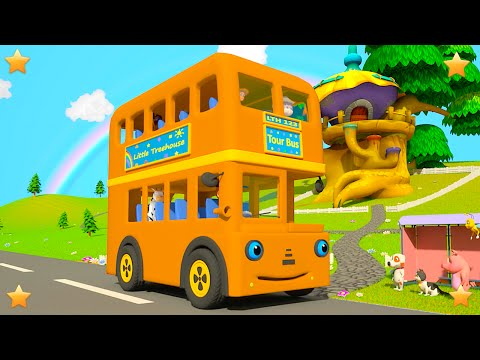 Orange Wheels On The Bus | 3D Kindergarten Nursery Rhyme Song | Baby Songs by Little Treehouse
