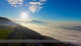 4K➟1080p Sea of Fog   Zug - Schwyz SWITZERLAND アルプス山脈 aerial view