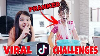 Recreating VIRAL TikTok Challenges and Trends | Emily and Evelyn