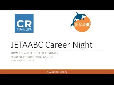 JETAABC Career Night - How to Write Better Resumes