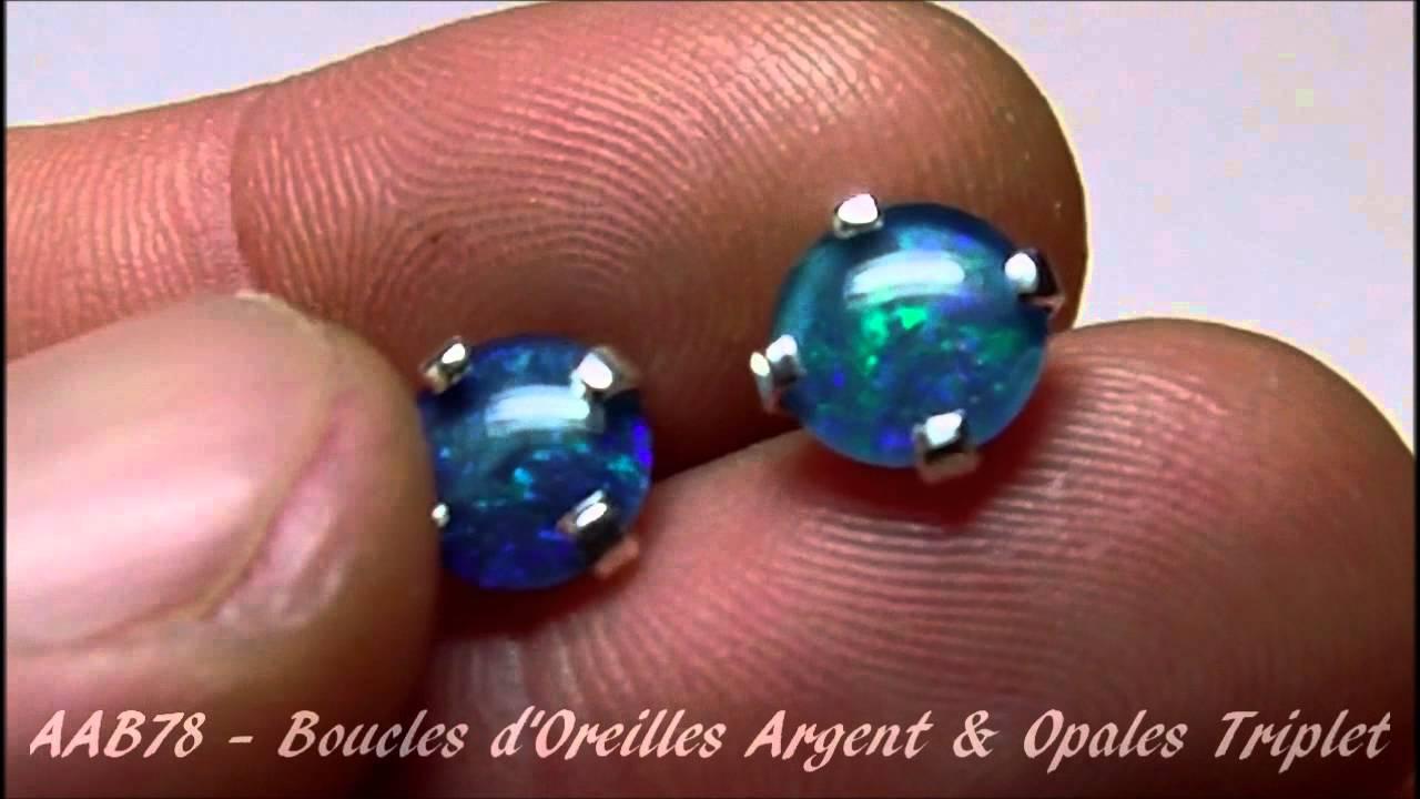 Boucle d'oreille opale noire