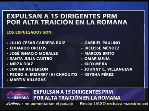 Expulsan a 15 dirigentes PRM por alta traición en La Romana