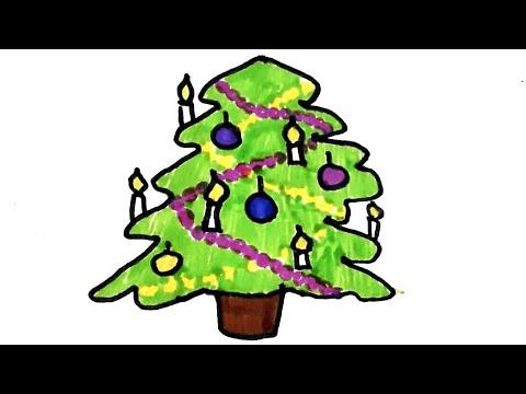 Новогодняя Елка. Как нарисовать елочку. Рисунки для детей. Легкие рисунки. Картинки фломастерами.