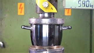 Crushing Cooking Pots with Hydraulic Press