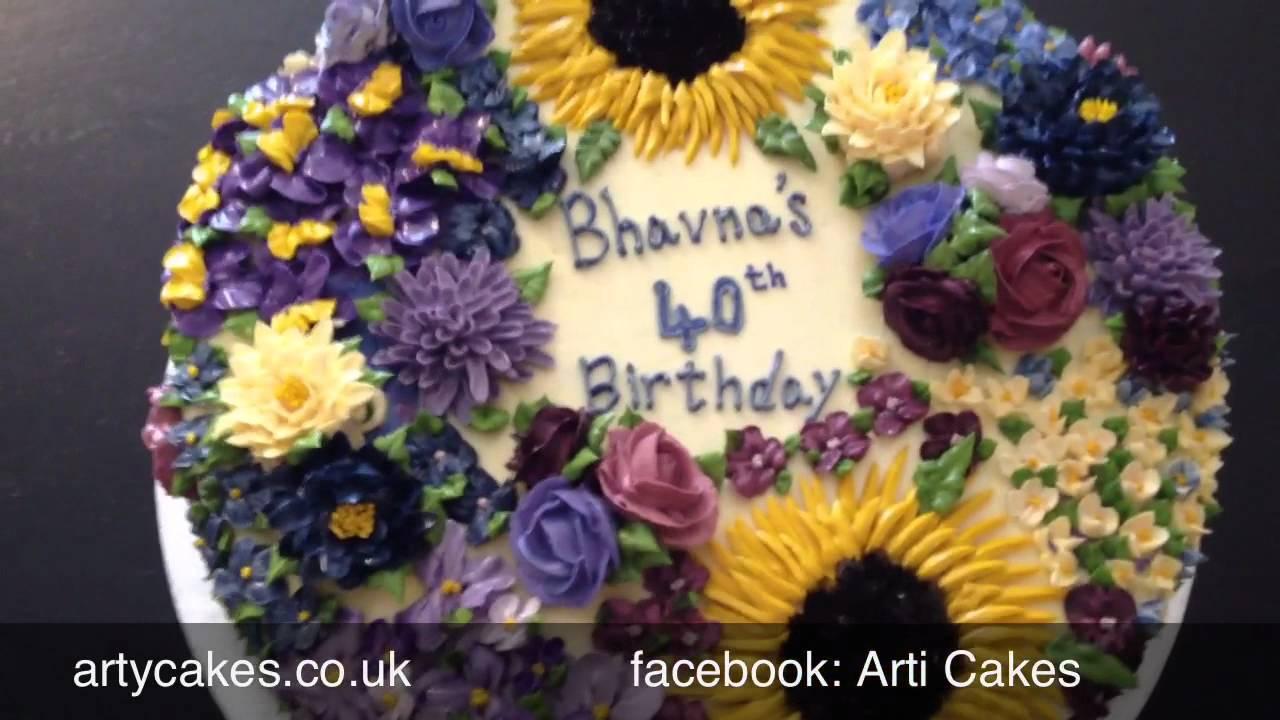 Buttercream Floral Birthday Cake YouTube