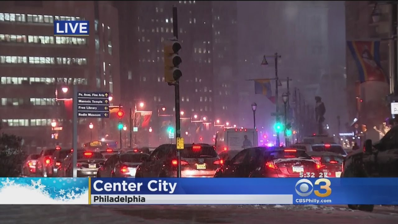 Snowy Weather Causing Traffic In Center City