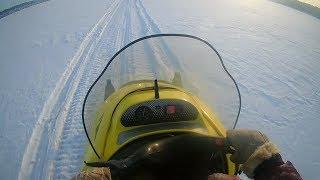 Еду с рыбалки. Покатушка на снегоходе тайга! Сколько едет тайга(ст 500 д) по тропинке?