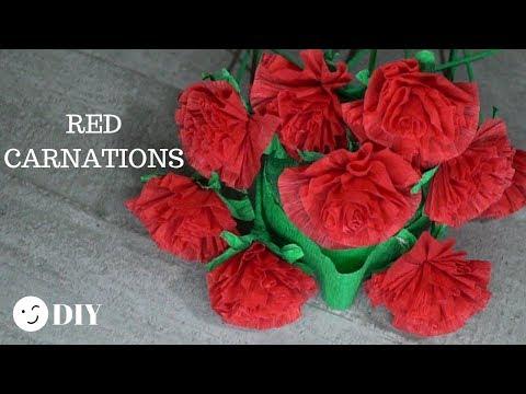 211 DIY Red Carnations Paper Flowers/ Craft Paper Tutorial