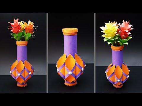 Easy Paper Flower Vase | How to Make a Paper Flower Vase At Home | Tissue Paper Roll Flower Vase