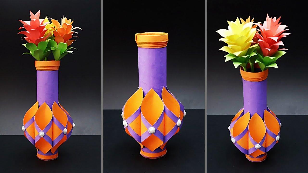 Easy Paper Flower Vase How To Make A Paper Flower Vase At Home Tissue Paper Roll Flower Vase