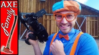 Blippi and Axe Family | behind the scenes on the ranch
