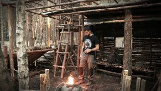 Bushcraft Camp Update 17 - Stone Fire Pit, Cooking, Knife Sharpening (SPIDERS)