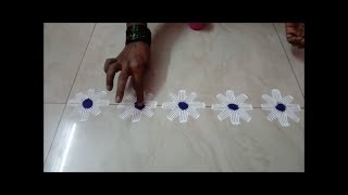 border rangoli design using fork || quick and simple border rangoli design || border rangoli