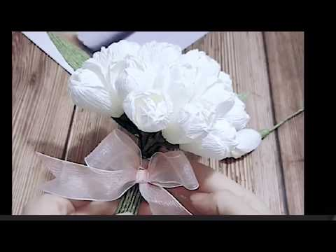 DIY HANDICRAFT: EASY TO MAKE A WHITE TISSUE ROSE BUNCH IN WEDDING INCEPTION