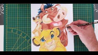 Comment dessiner le roi lion, SIMBA, TIMON  et PUMBA avec les prismacolors