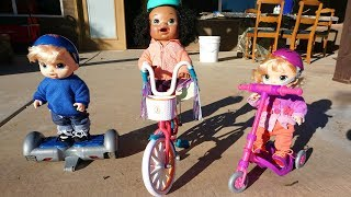 BABY ALIVE Babies Go Play Outside On Bike, Scooter & Hover board!