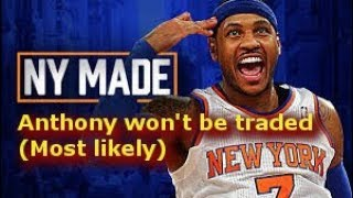 Carmelo Anthony won't be traded before trade deadline (most likely)