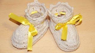 Вязание пинеток крючком шаг 2 - бортик / / Crochet knitting bootees step 2 - skirting