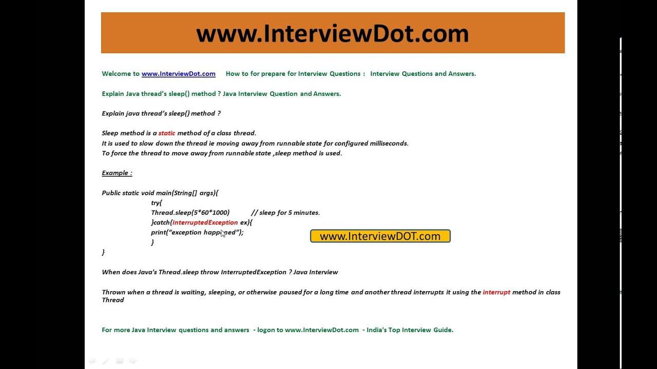 Explain java thread sleep method java interview question ...