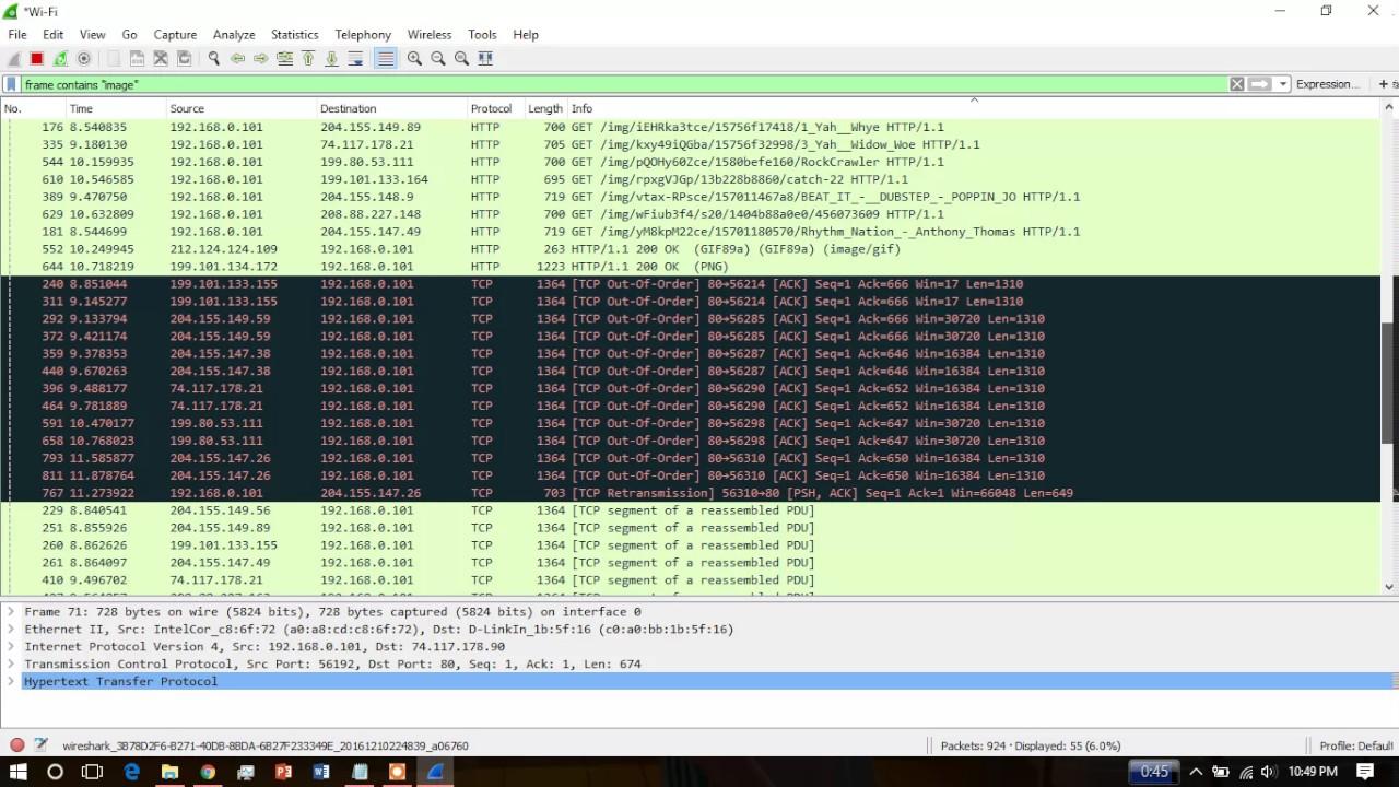 Image capture using WireShark - YouTube