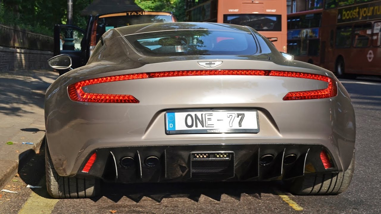 Aston Martin One-77 on the road in London - Start up, sounds and combos [HD]