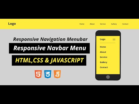 Responsive Navigation Menu Bar Using HTML CSS And JAVASCRIPT | CSS Media Query | Responsive Navbar