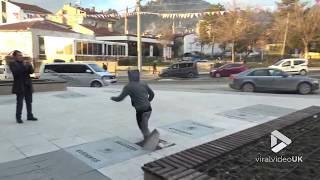 Unexpected parkour fail    Viral Video UK