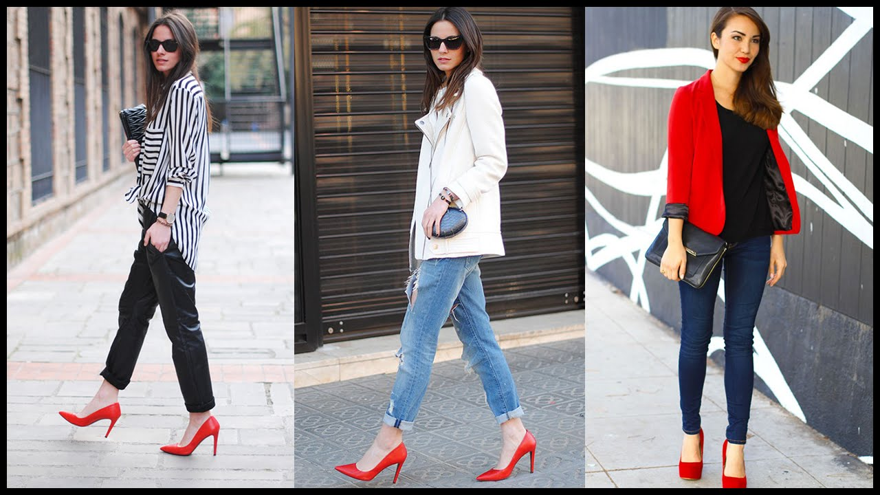 How to Wear Red Heels - Outfit Ideas - YouTube