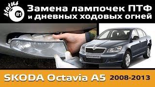 Замена ламп ПТФ Шкода Октавия А5 / ДХО Skoda Octavia A5 / Шкода Октавия свет