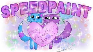 Sinext cat and Violet 14 февраля Happy Valentine's day speedpaint