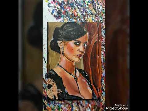 Eva Green Miniature Acrylic Portrait Work In Progress Video By Gavin Hunt