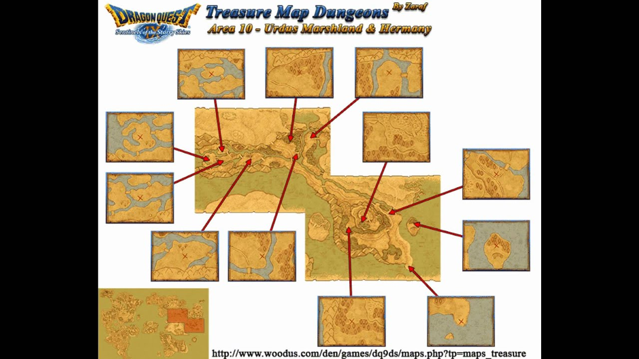 dragon quest IX Treasure map locations HD