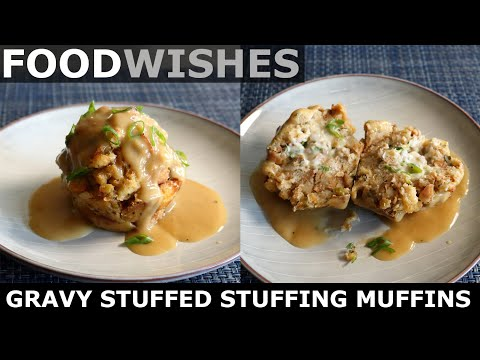 gravy-stuffed-stuffing-muffins---thanksgiving-stuffing---food-wishes