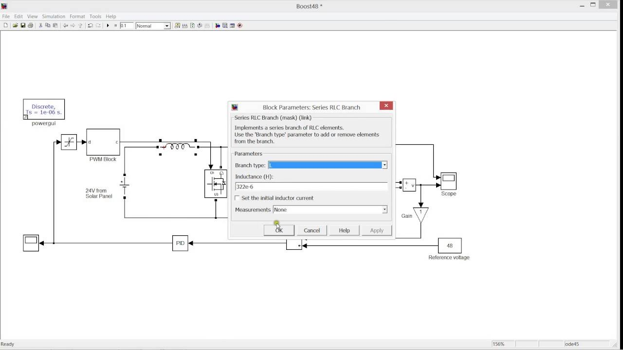 BOOST CONVERTER WITH CLOSED LOOP CONTROL SYSTEM SIMULATION MATLAB SIMULINK  (24 TO 48V)