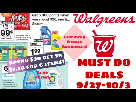 WALGREENS MUST DO DEALS 9/27-10/3  + SPEND $20 GET 5k BOOSTER SCENARIOS!