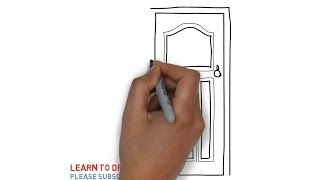 How to draw a door step by step for kids