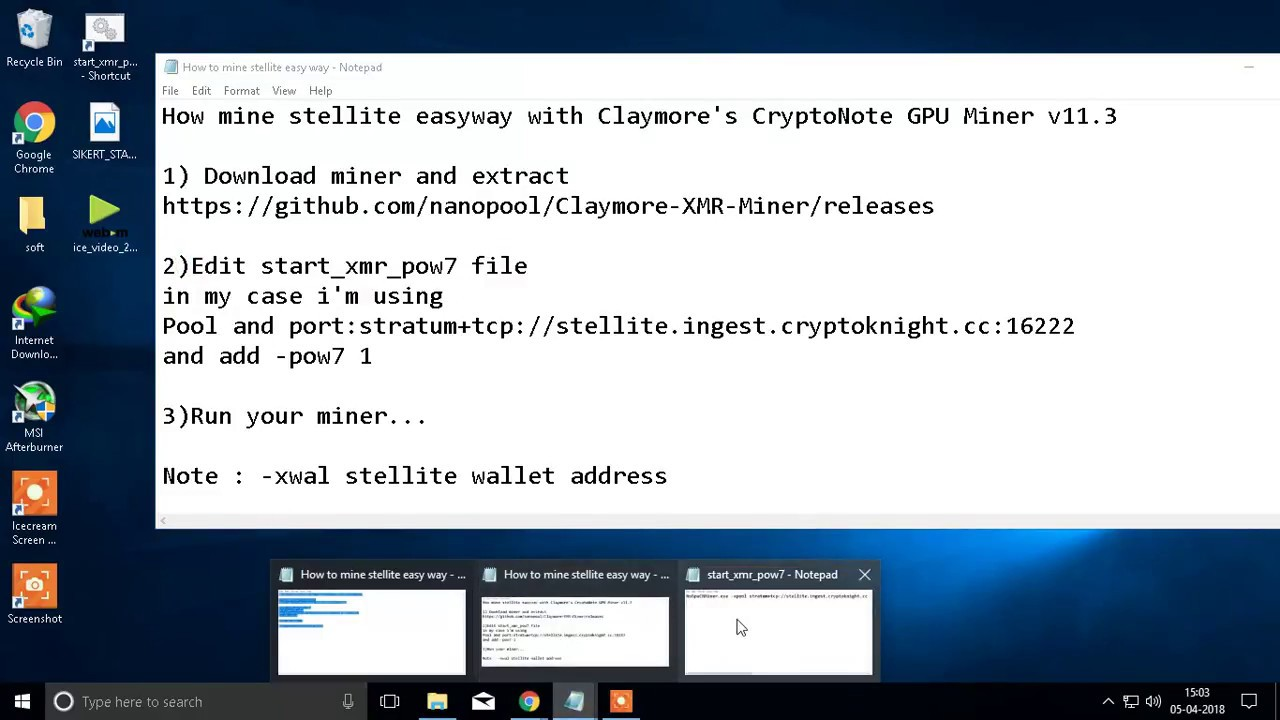 Claymore Cryptonote Gpu Miner how to mine stellite v7 with your cpu/gpu at 0 dev fee and 0