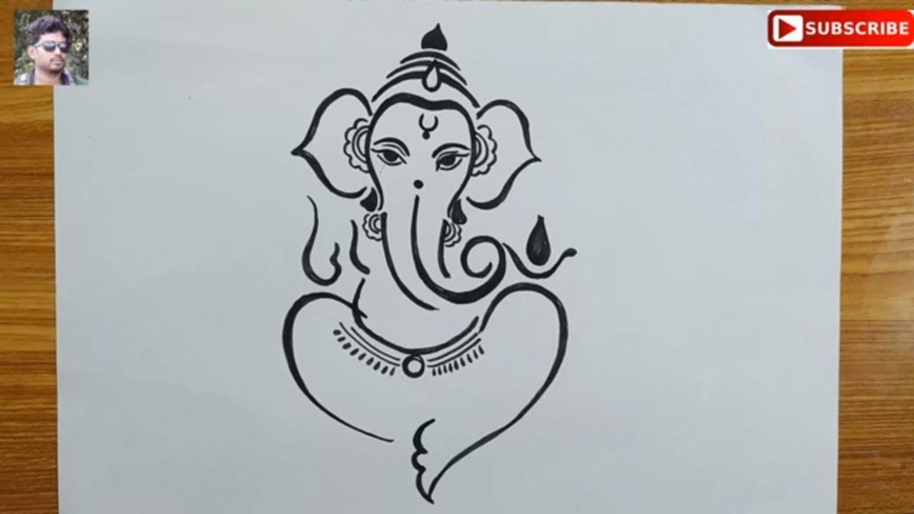 how to draw lord ganesha very easy line art,easy ganesh ...